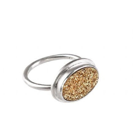Druzy Oval Ring Gold