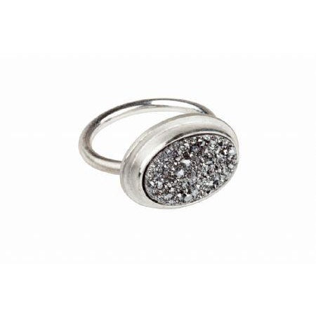 Druzy Oval Ring Platinum Coated