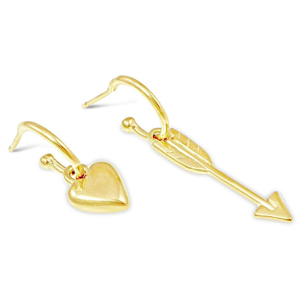 Heart & Arrow Earrings in Gold