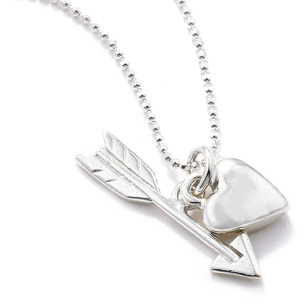 Heart and Arrow Pendant in Silver