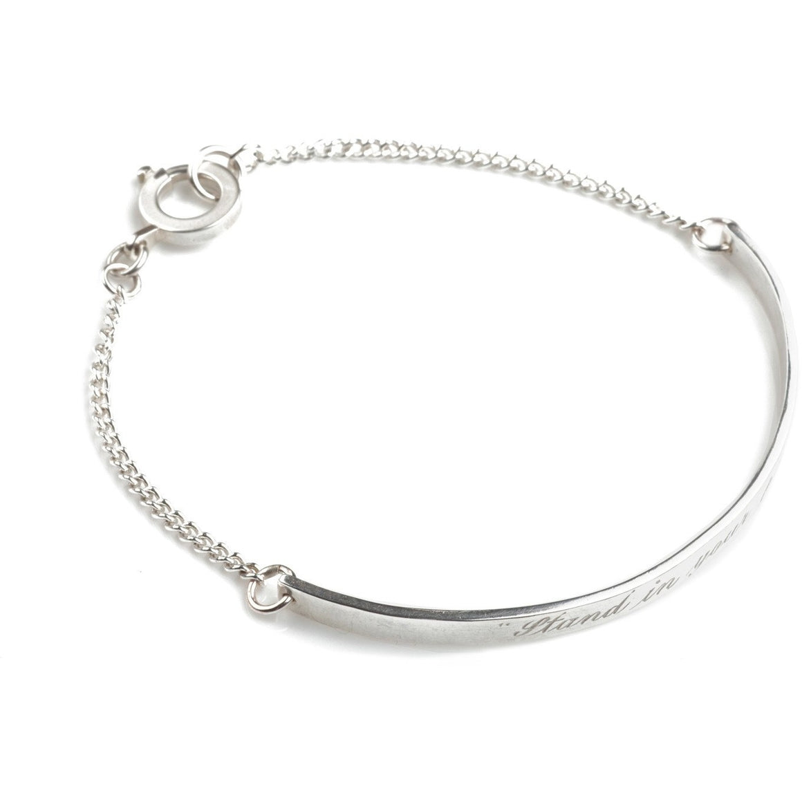 """Stand by your Power"" Friendship Bracelet in Silver"