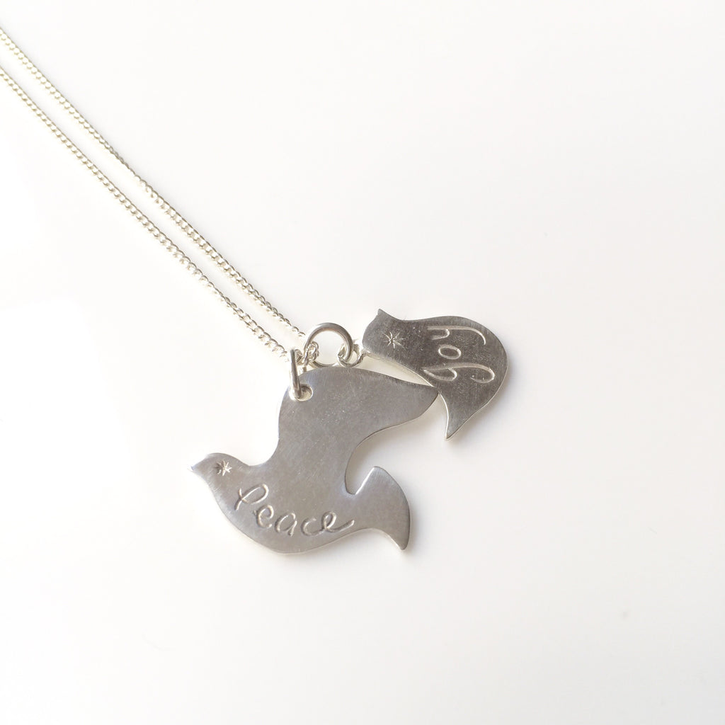 Peace & Joy Bird Pendant Silver