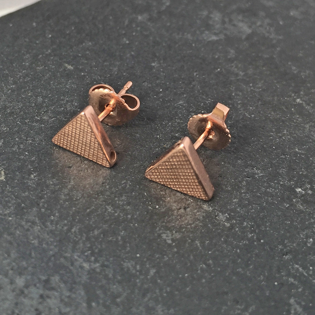 Triangle Stud Earring Rose Gold
