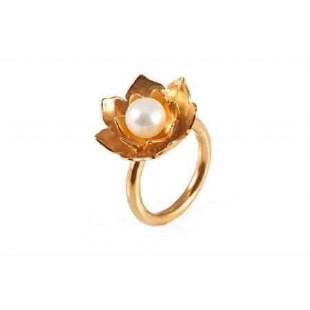 Lotus Pearl Gold Ring