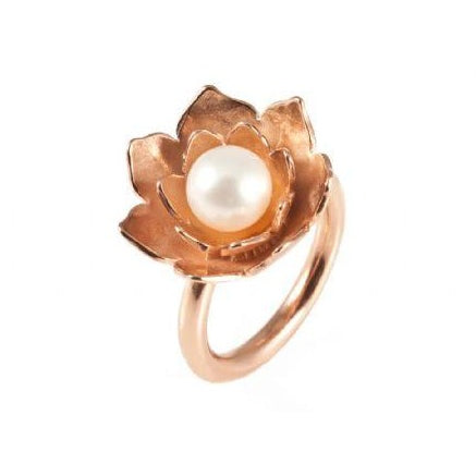 Lotus Pearl Rose Gold Ring
