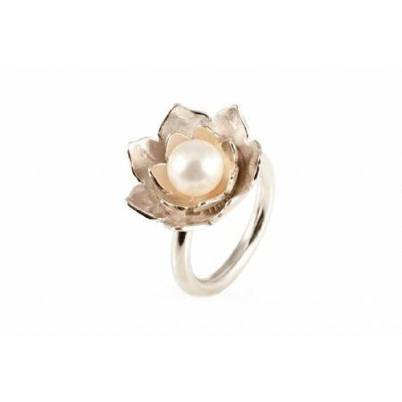 Lotus Pearl Silver Ring