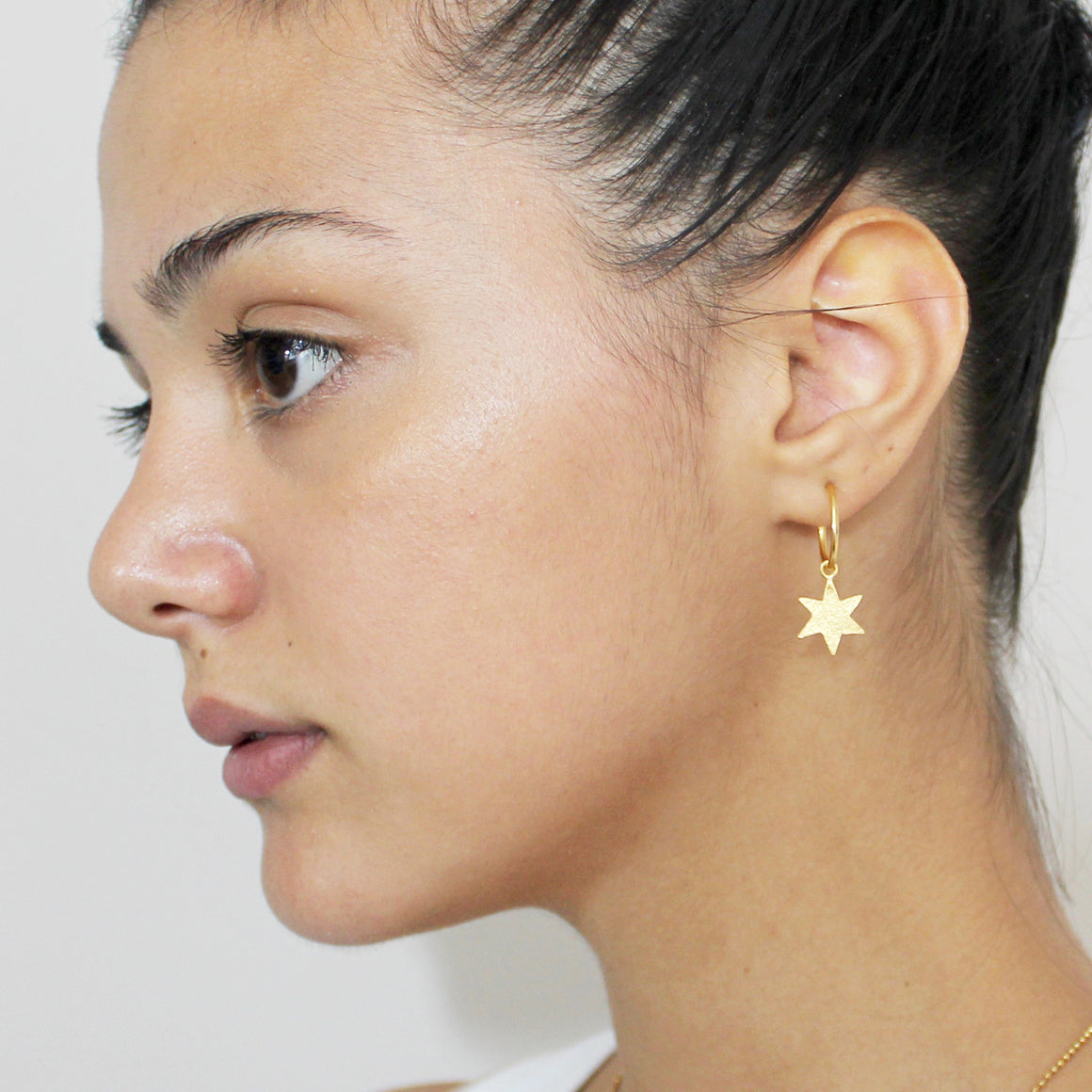 Star Textured Hoops Gold