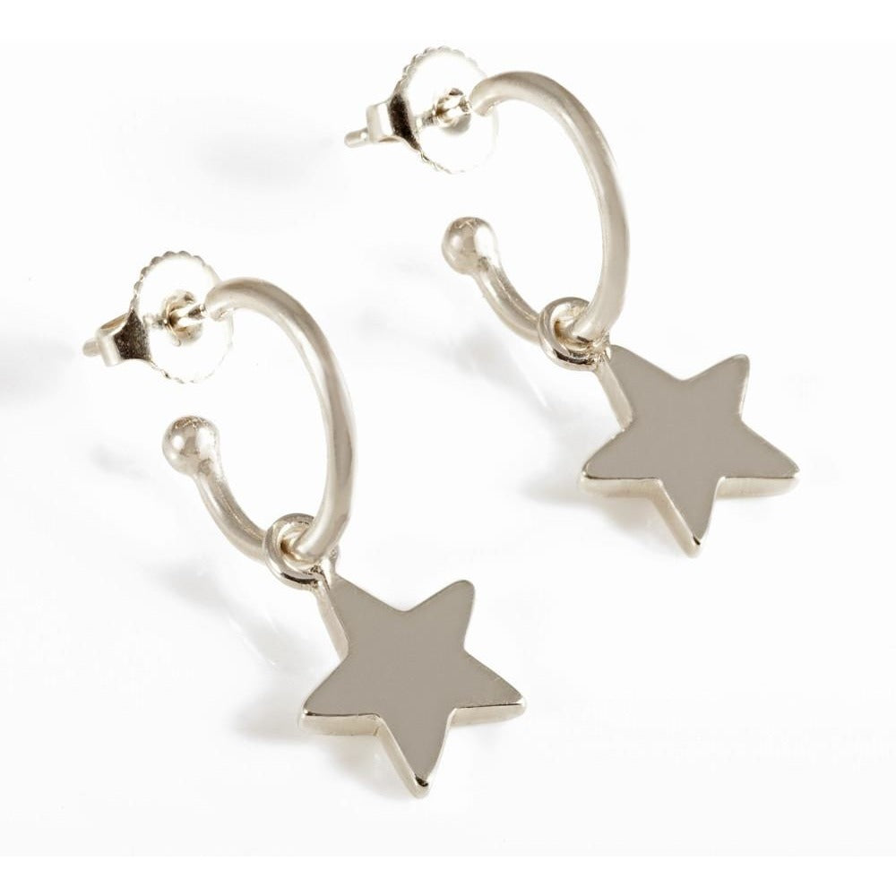 Stars on Hoops in Silver