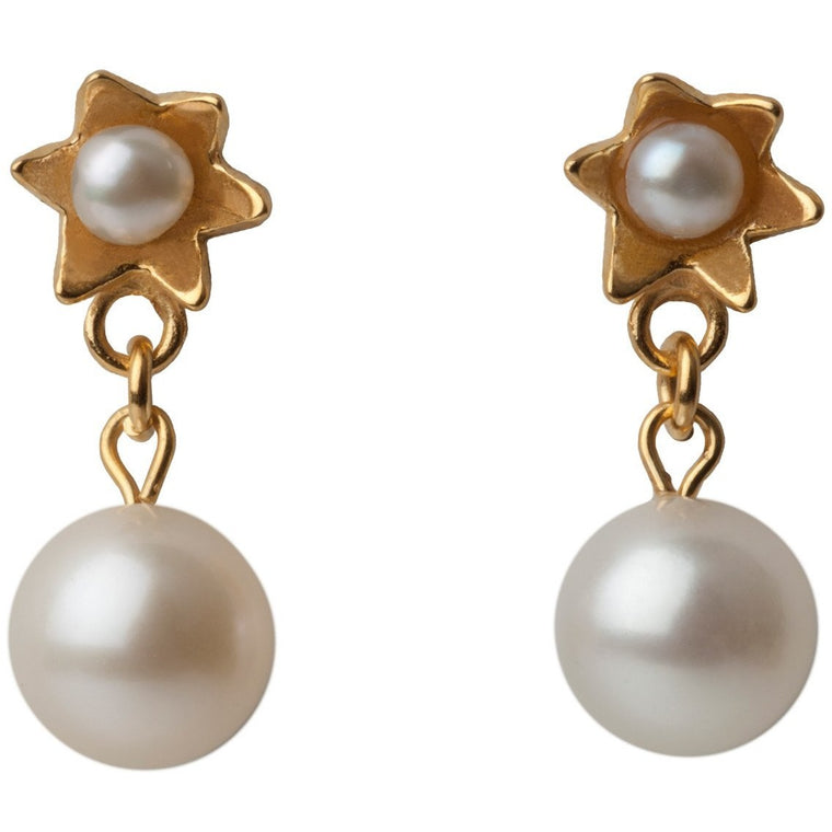 Pearl Star Earrings in Yellow Gold