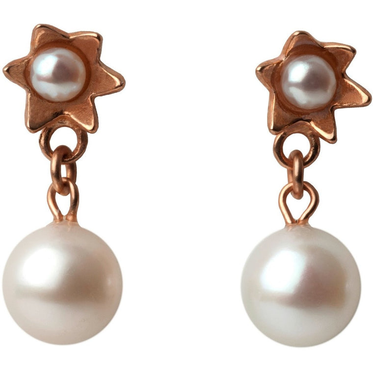 Pearl Star Earrings in Rose Gold