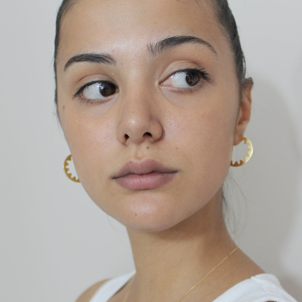 Sunburst Hoop Earrings Gold