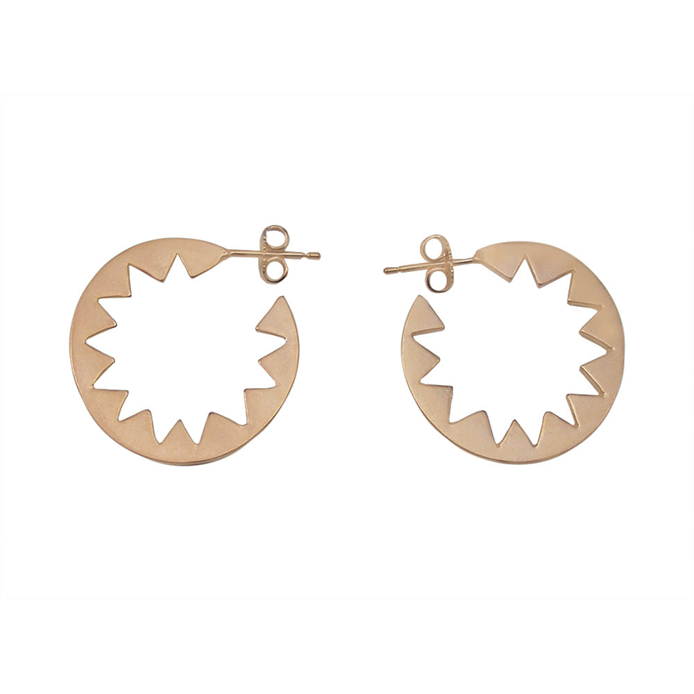 Sunburst Hoop Earrings Rose Gold