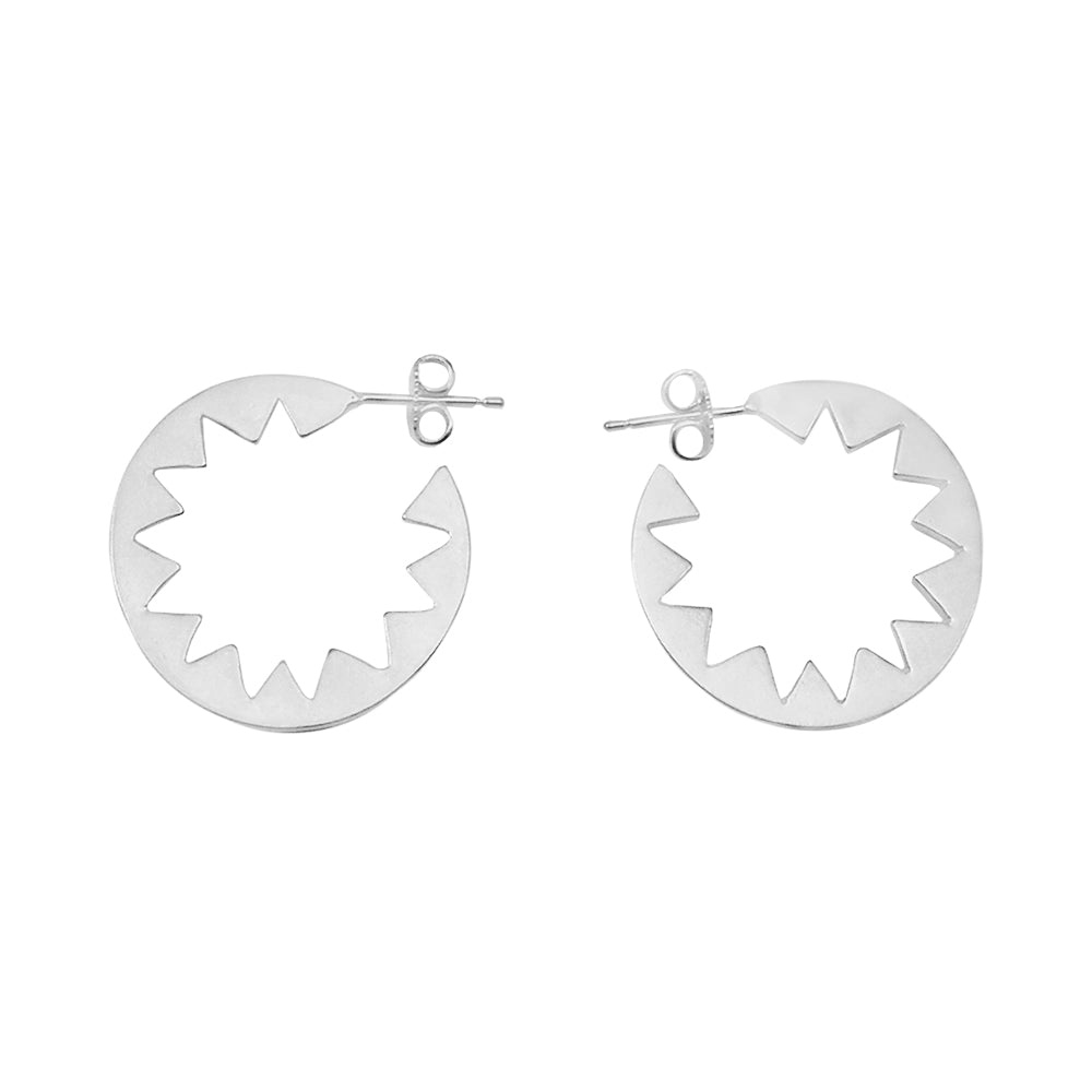 Sunburst Hoop Earrings Silver