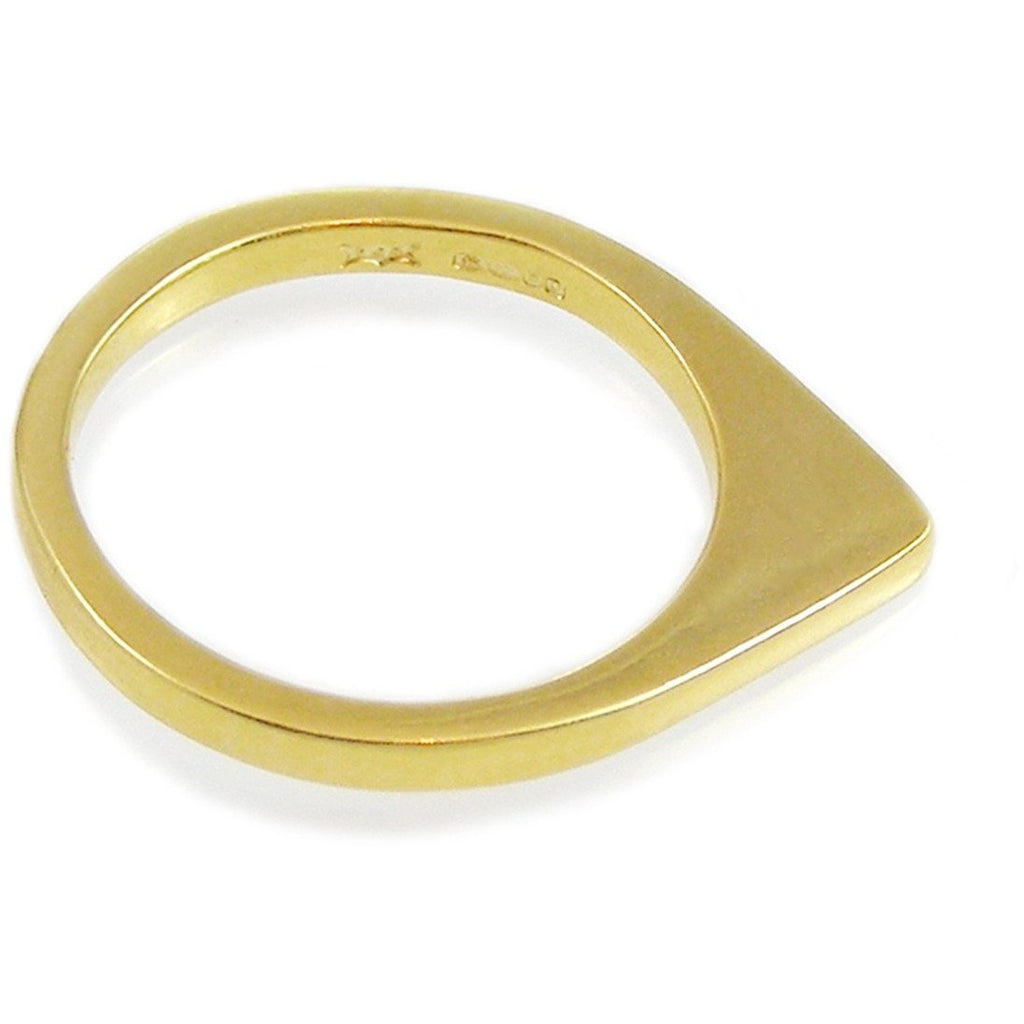 Triangle Diamond Ring Gold Plate