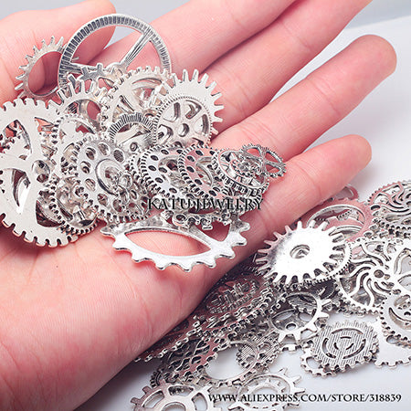 100PCS Mixed Vintage Metal Gears Charms For Jewelry Making Diy Steampunk Gear