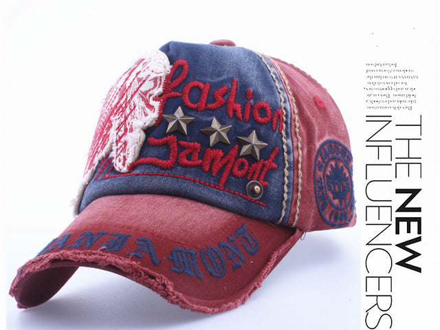 Xthree Cotton Embroidery Antique Style Snapback Baseball Cap