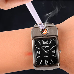 Camping Military USB Charging sports Lighter Watch Windproof Flameless Cigarette