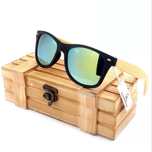 Vintage Black Square Sunglasses With Bamboo Legs Mirrored Polarized Summer Style