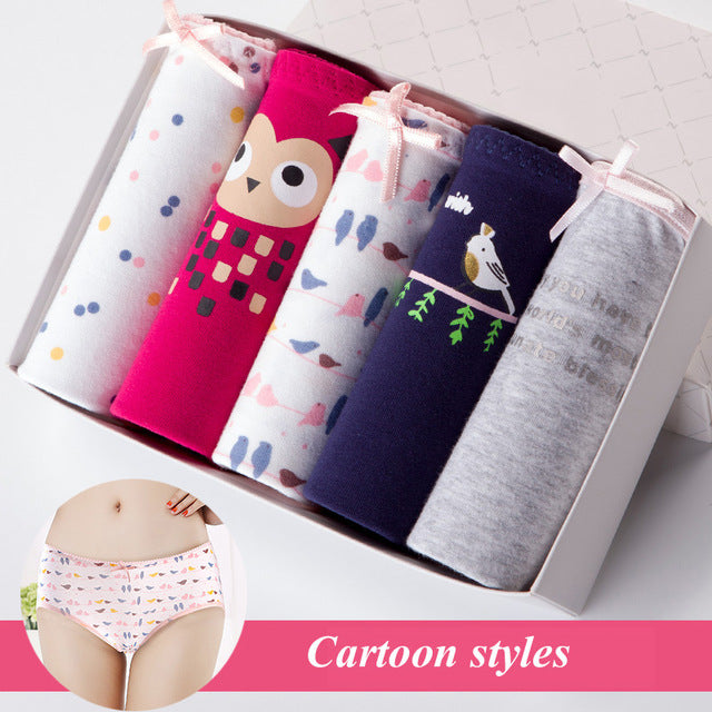 5PCS Sexy Cotton Underwear Cute Printed Intimate Plus Size Breathable Underpants