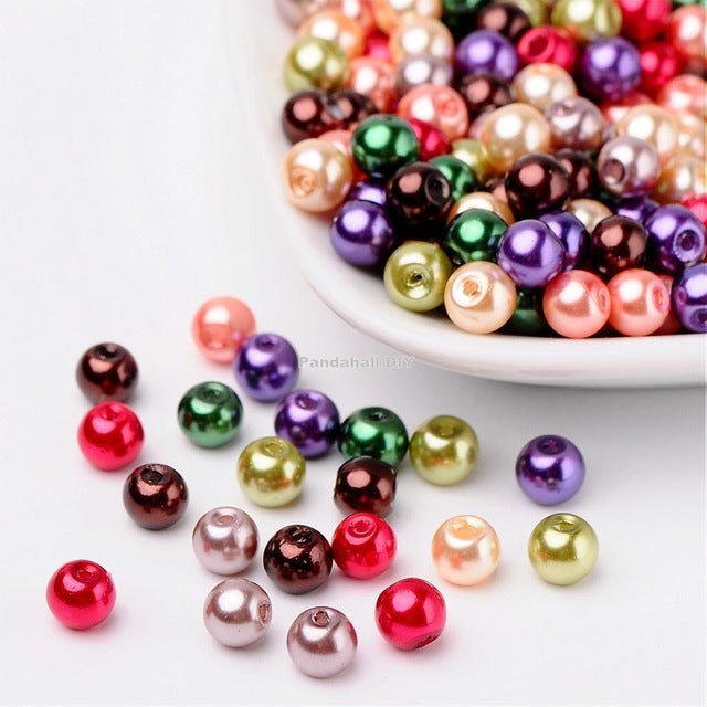 4mm 6mm 8mm Mixed Color Glass Beads for Jewelry Making Hole: 1mm