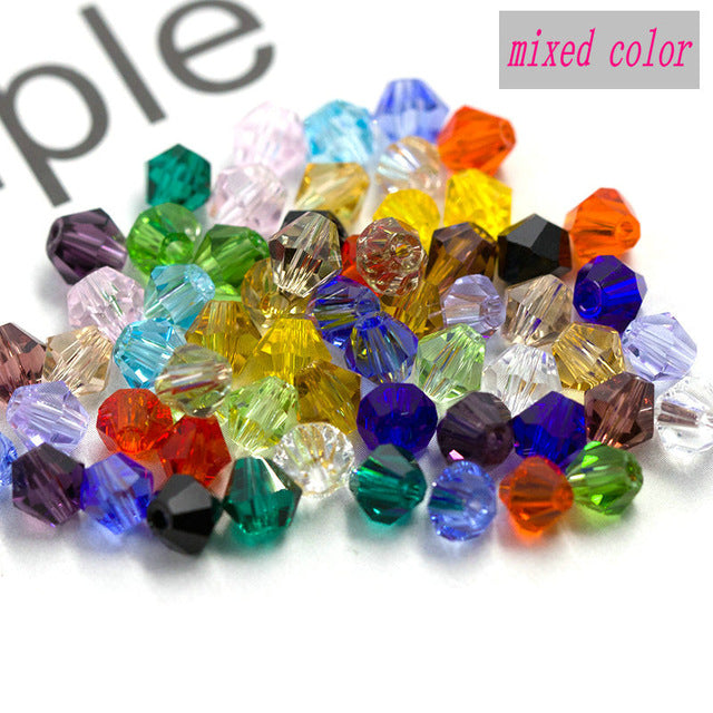 Buy 1 and get 1 free 100pcs Colorful 4mm Bicone Crystal Beads Glass