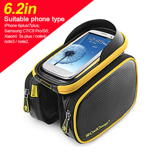 Bicycle Frame Front Head Top Tube Waterproof Bike Bag & Double IPouch