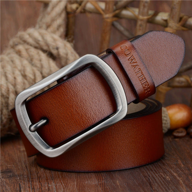 COWATHER Cow Genuine Leather Vintage Style Male Belt 100-150CM Waist Size 30-52