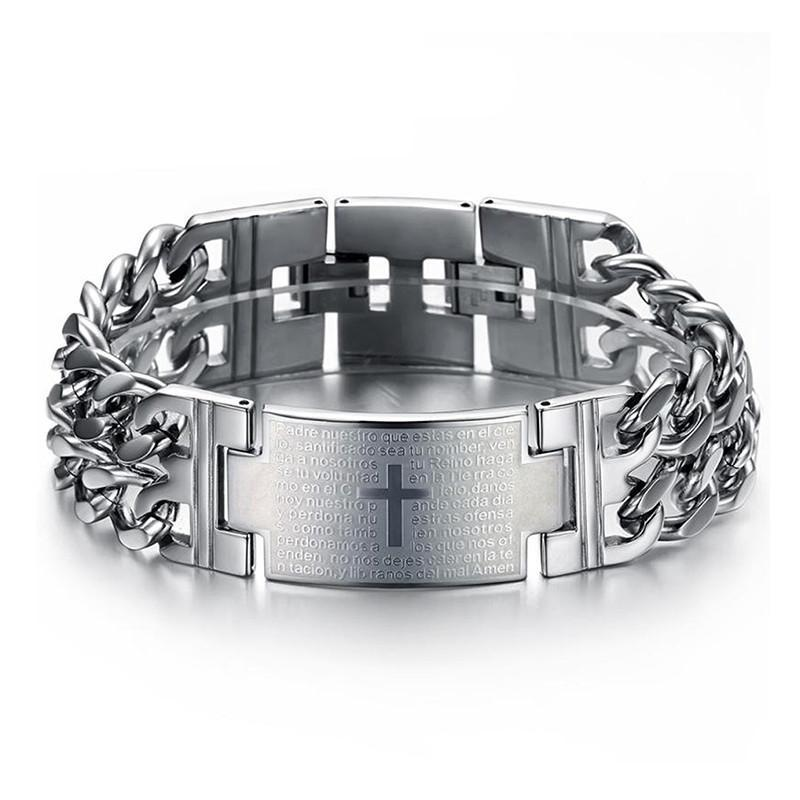 OBSEDE Jesus Cross Bracelets Stainless Steel Charm Bangle Double Hand Chain