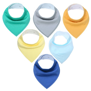 6Pcs Baby Bandana Drool Bibs Super Absorbent for Drooling Teething and Feeding