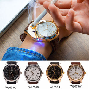Rechargeable USB Lighter Watches date clock Electronic Men's Casual Quartz Wrist
