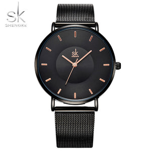 Fashion Black Women Watches High Quality Ultra thin Quartz Watch