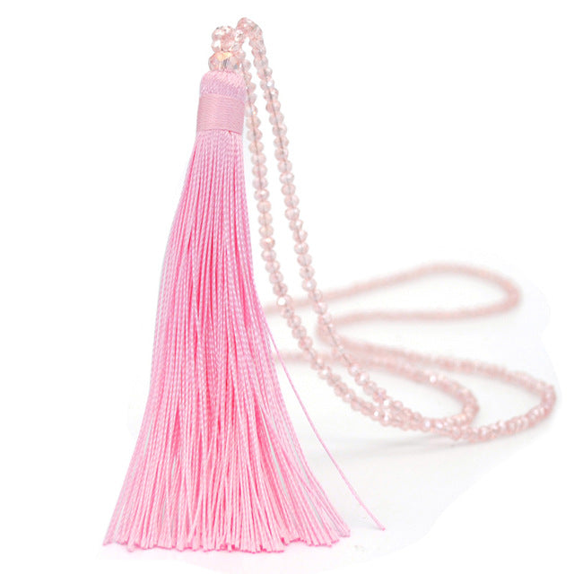 Yumfeel New Tassel Necklace 10 Colors Silk Tassel Glass Beads Crystal 90cm