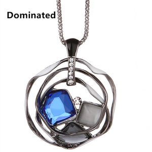 Women Fashion Chain Crystal Pendant Necklace
