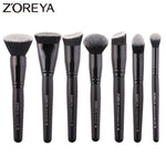 7pcs Professional Makeup Brushes Nylon Hair Wood Handle Set ZOREYA