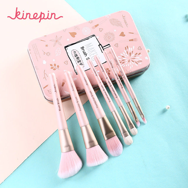 Portable Makeup Brush with Case Soft Natural Horse Pony Synthetic KINEPIN