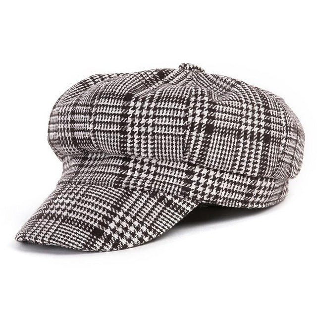COKK Black White Vintage Cap Newsboy Autumn Winter Hat