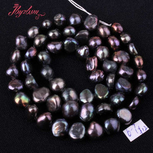 5-7mm Freeform Black Natural Stone Beads 14""