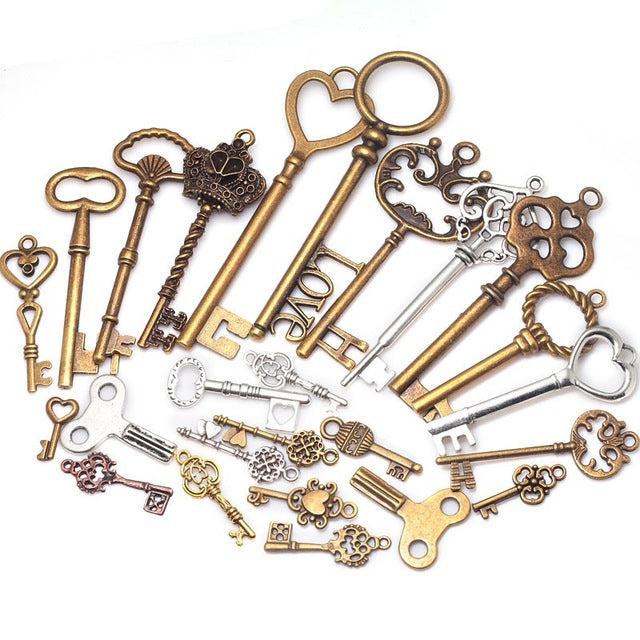 40PCS Mixed Vintage Metal Key Shape Pendant Charms for Jewelry Making