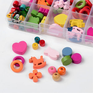 HOT 1Box Mixed Shapes Wood Beads for Jewelry Making Accessories