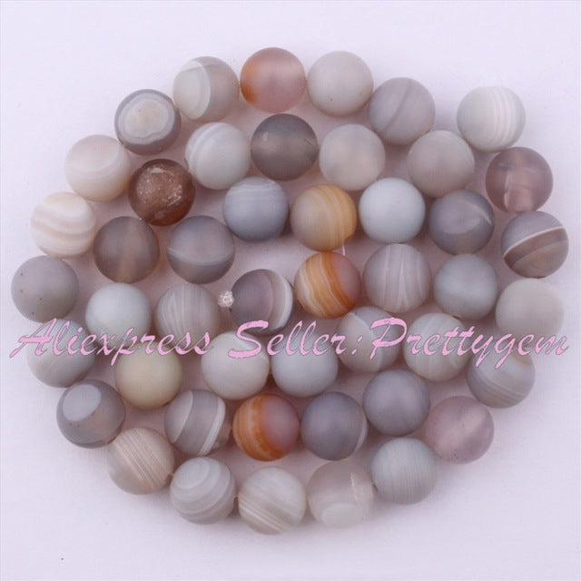 6,8,10mm Round Frost Stripe Gray Agates Natural Stone Beads 15""