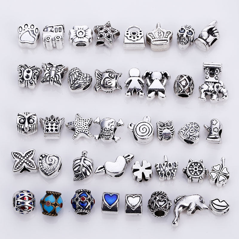 Vintage Silver Metal Mixed Beads fit Pandora Charms