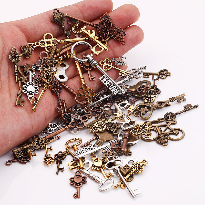 100PCS Mixed Vintage Metal Small Key Charms for Jewelry Making DIY Key Pendant