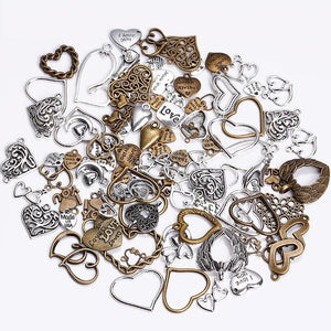 100PCS Mixed Vintage Metal Love Hearts Charms for Fashion Jewelry Making
