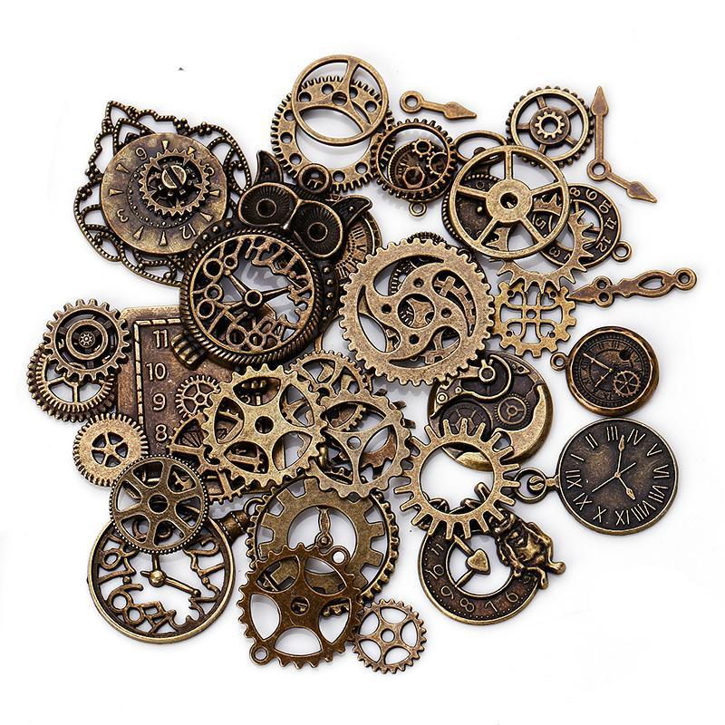 40 PCS Mixed Vintage Metal Steampunk Clock & Gear Pendant for Jewelry Making