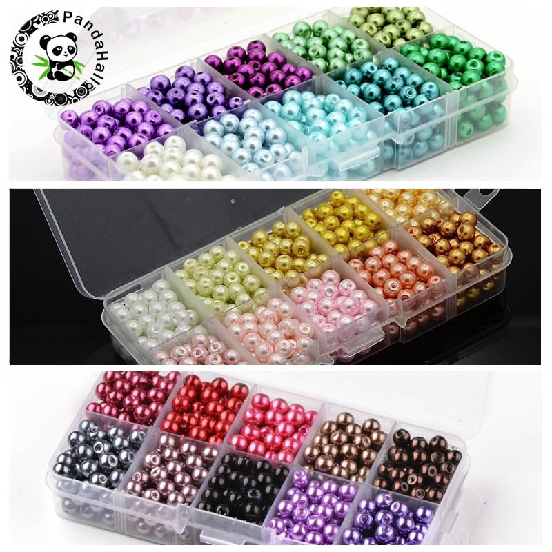 6mm 550pcs Mixed Color Round Glass Beads For Jewelry Making