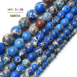 Natural Stone Beads Blue Sea Sediment Round Loose Beads For Jewelry Making