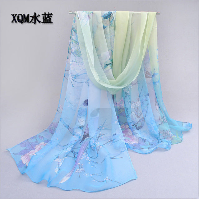 Thin Chiffon Polyester Silky Scarf Autumn & Spring