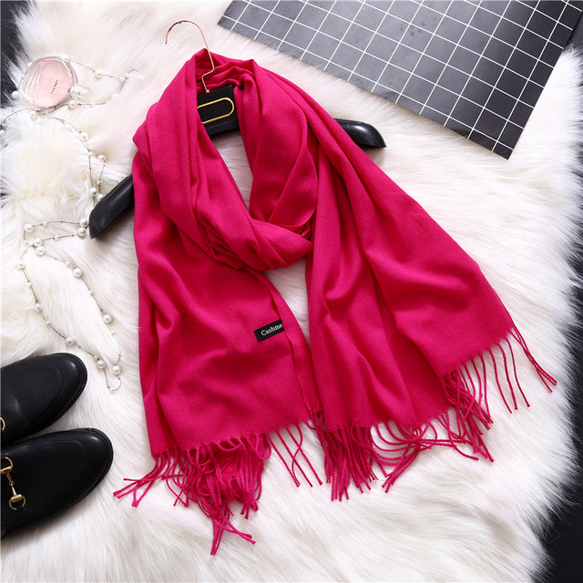 Women Fashion Scarf Solid Winter Scarves Shawl