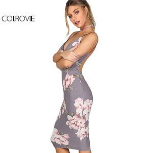 Bodycon Party Dress Women Grey Floral Sexy Backless