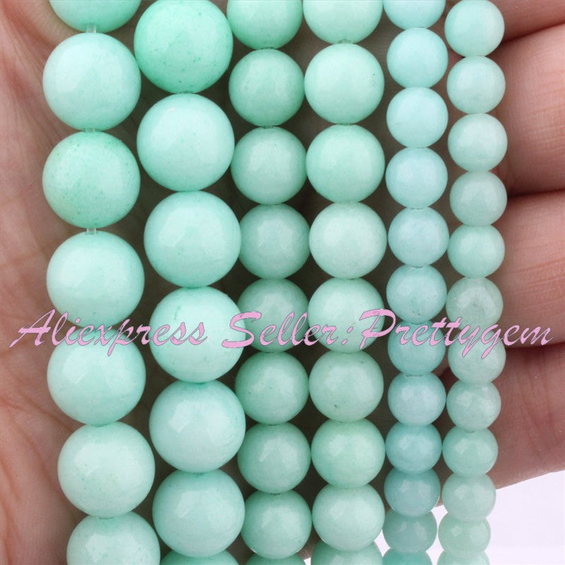 4,6,8,10mm Round Smooth Blue Amazonite Jades Stone Beads 15""